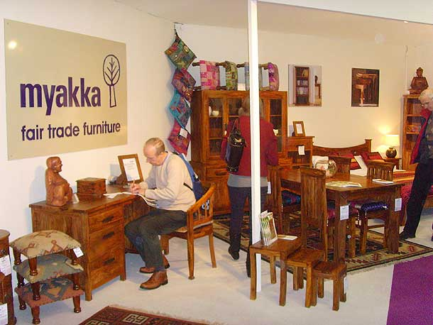 Myakka Fair Trade Furniture sells soft furnishings handmade by students at sksn Institute in Rajasthan, which caters for a majority of physically disabled students.					